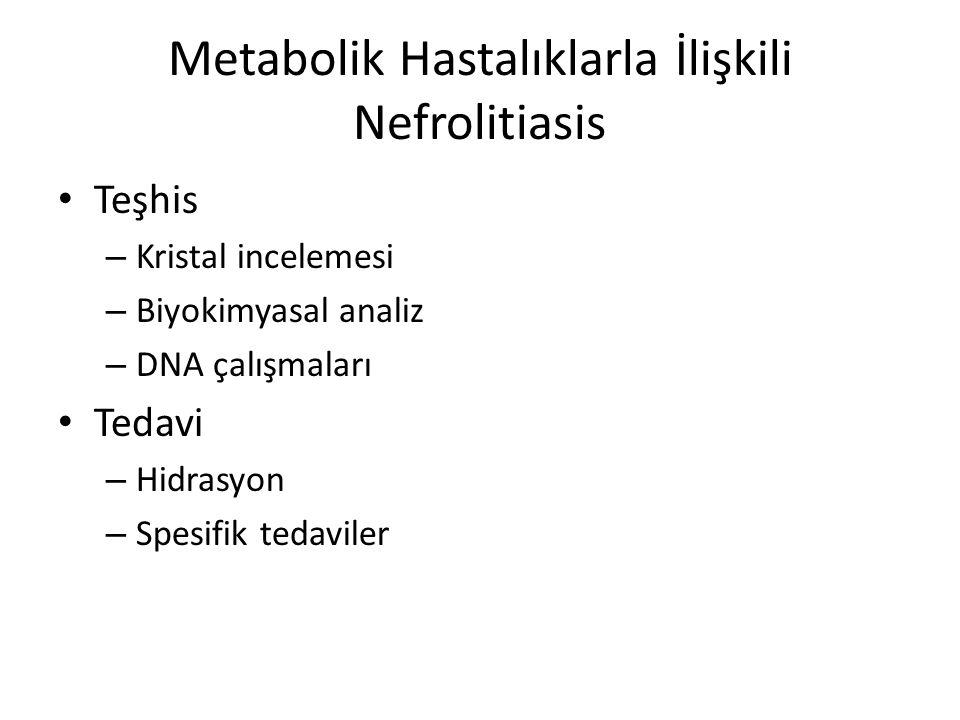 Giriş Prezentasyon ve patolojiye göre doğumsal metabolik hastalıklarla ilişkili nefrolitiazis Metabolik hasarın kendisine bağlı nefrolitiazis Sekonder metabolik has a ra bağlı nefrolitiazis Nefrolitiazis genelde ilk/erken semptomdurHastalığın seyrinde nefrolitiazis gelişir Primer hiperokzalüri tip 1 v e 2GSD tip 1 SistinüriSekonder Fankoni sendromu tedavisinde Pürin, pirimidin metabolizma bozuklukları