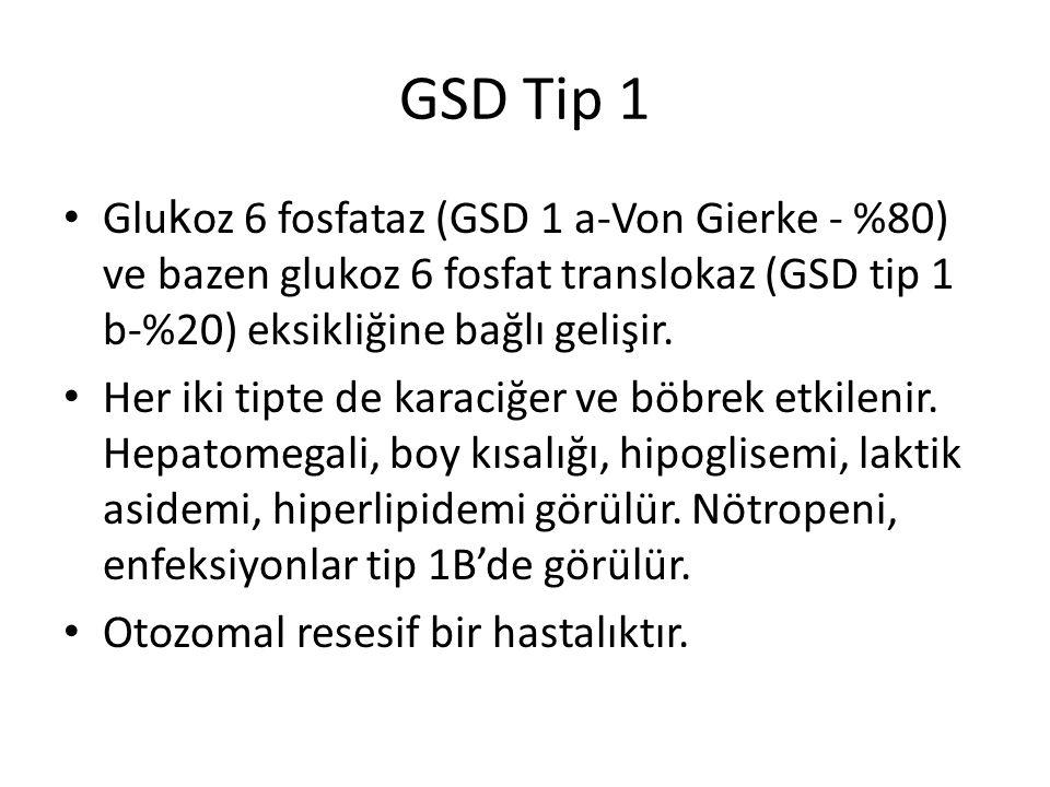 GSD Tip 1 Glu k oz 6 fosfataz (GSD 1 a-Von Gierke - %80) ve bazen glukoz 6 fosfat translokaz (GSD tip 1 b-%20) eksikliğine bağlı gelişir. Her iki tipt
