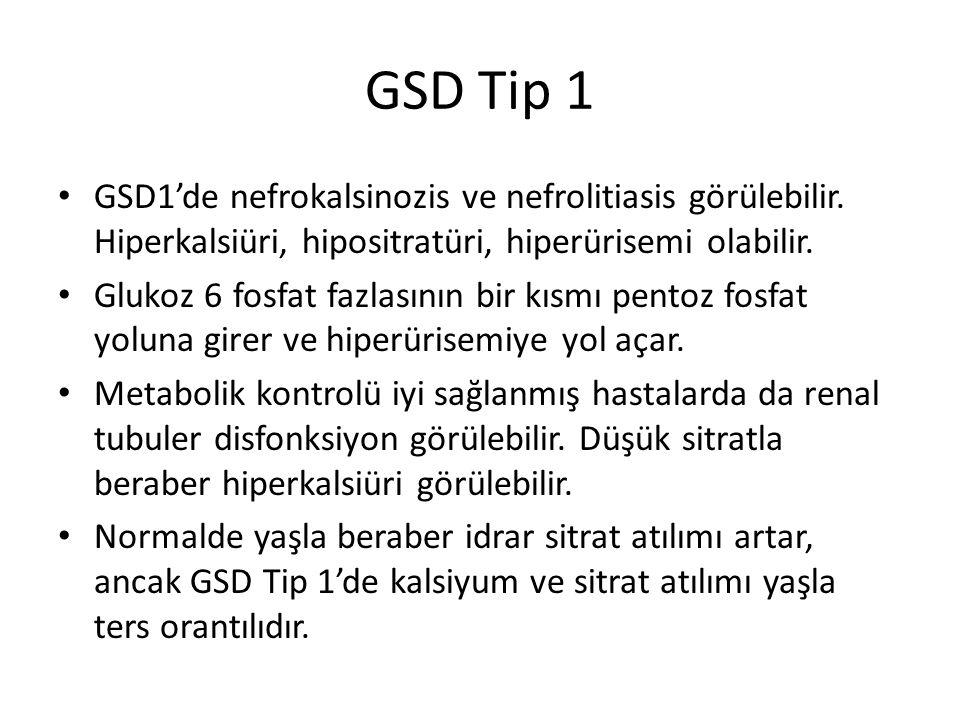 GSD Tip 1 GSD1'de nefrokalsinozis ve nefrolitiasis görülebilir. Hiperkalsiüri, hipositratüri, hiperürisemi olabilir. Glukoz 6 fosfat fazlasının bir kı