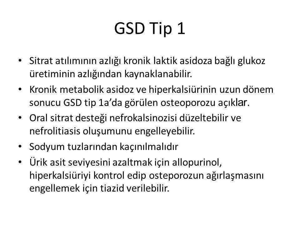 GSD Tip 1 Sitrat atılımının azlığı kronik laktik asidoza bağlı glukoz üretiminin azlığından kaynaklanabilir. Kronik metabolik asidoz ve hiperkalsiürin