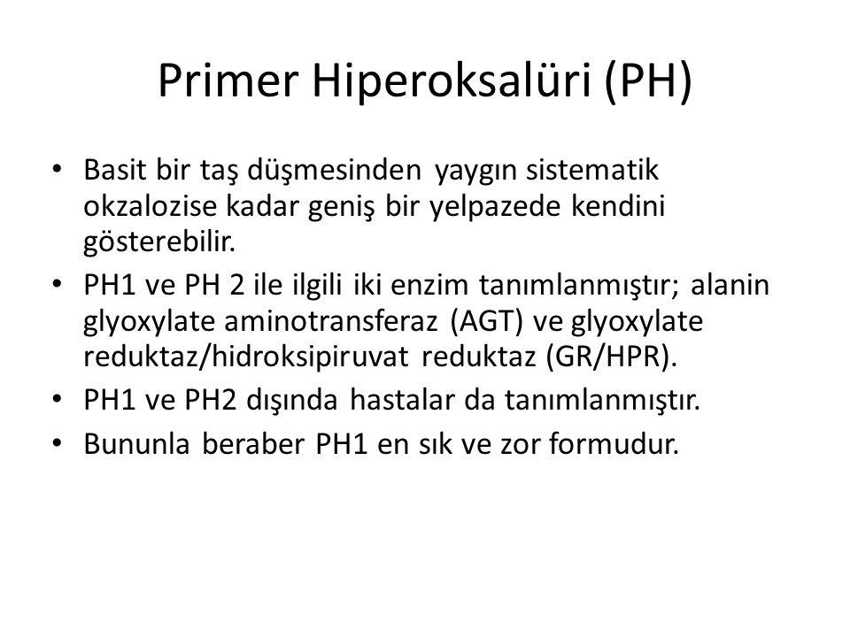 Primer Hiperoksalüri (PH) Basit bir taş düşmesinden yaygın sistematik okzalozise kadar geniş bir yelpazede kendini gösterebilir. PH1 ve PH 2 ile ilgil