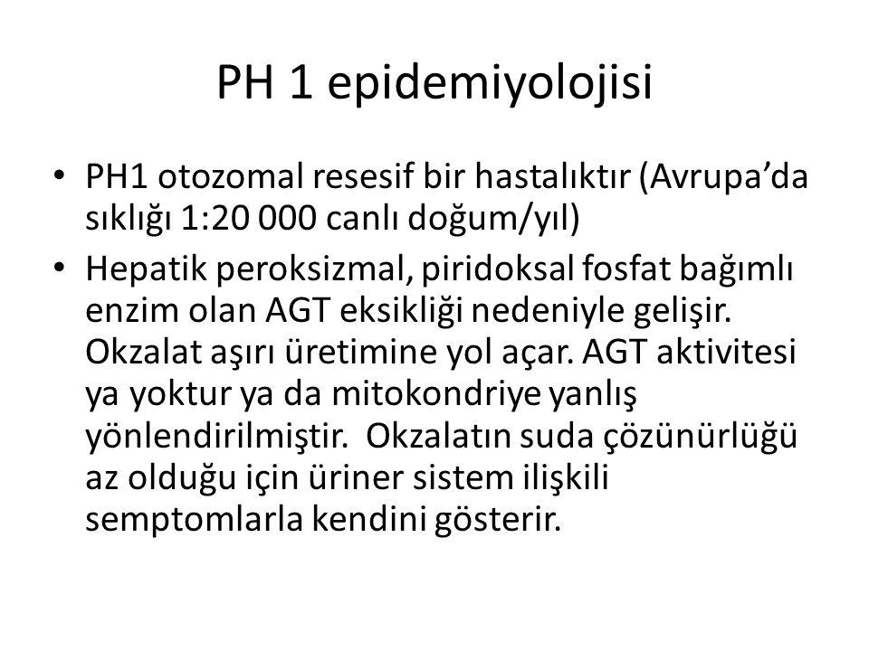 PH 1 epidemiyolojisi PH1 otozomal resesif bir hastalıktır (Avrupa'da sıklığı 1:20 000 canlı doğum/yıl) Hepatik peroksizmal, piridoksal fosfat bağımlı