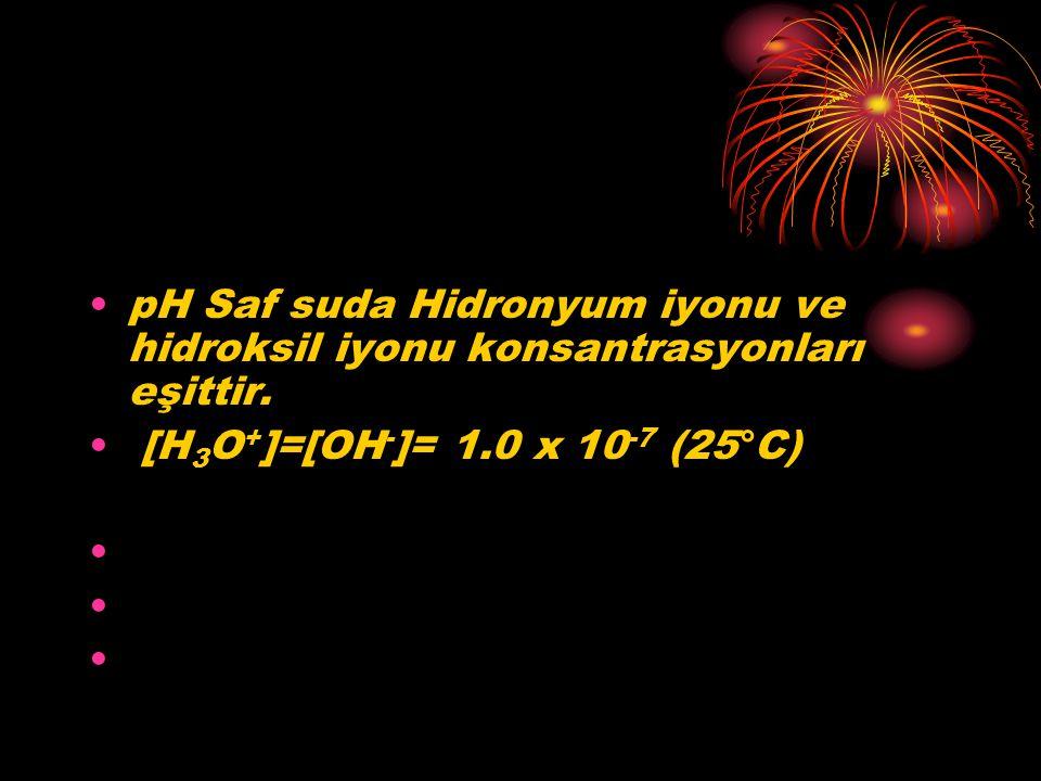 pH Saf suda Hidronyum iyonu ve hidroksil iyonu konsantrasyonları eşittir. [H 3 O + ]=[OH - ]= 1.0 x 10 -7 (25°C) pH = 7.00nötr çözeltiler pH < 7.00asi