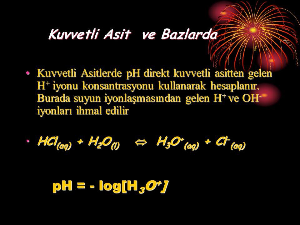 Kuvvetli Asit ve Bazlarda Kuvvetli Asit ve Bazlarda Kuvvetli Asitlerde pH direkt kuvvetli asitten gelen H + iyonu konsantrasyonu kullanarak hesaplanır