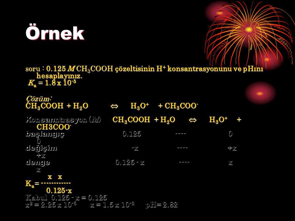 Örnek soru : 0.125 M CH 3 COOH çözeltisinin H + konsantrasyonunu ve pHını hesaplayınız. K a = 1.8 x 10 -5 K a = 1.8 x 10 -5Çözüm: CH 3 COOH + H 2 O 