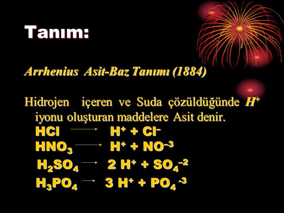Tanım: Arrhenius Asit-Baz Tanımı (1884) Hidrojen içeren ve Suda çözüldüğünde H + iyonu oluşturan maddelere Asit denir. HCl H + + Cl – HNO 3 H + + NO –