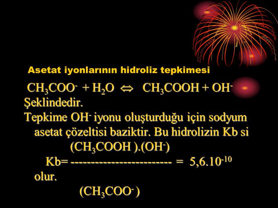 Asetat iyonlarının hidroliz tepkimesi CH 3 COO - + H 2 O  CH 3 COOH + OH - CH 3 COO - + H 2 O  CH 3 COOH + OH -Şeklindedir. Tepkime OH - iyonu oluşt