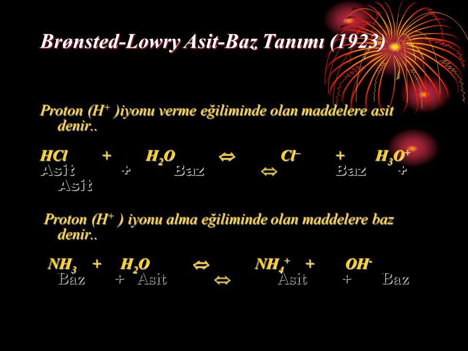 Brønsted-Lowry Asit-Baz Tanımı (1923) Proton (H + )iyonu verme eğiliminde olan maddelere asit denir.. HCl + H 2 O  Cl – + H 3 O + Asit + Baz  Baz +