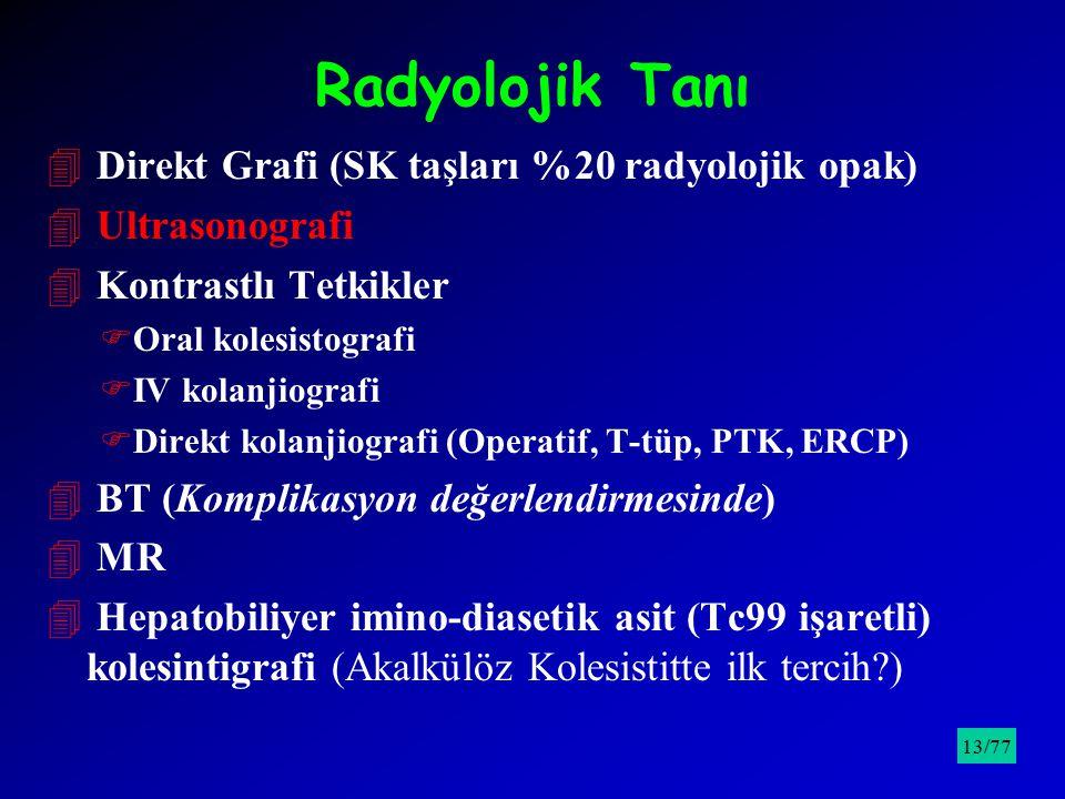 Radyolojik Tanı 4 Direkt Grafi (SK taşları %20 radyolojik opak) 4 Ultrasonografi 4 Kontrastlı Tetkikler FOral kolesistografi FIV kolanjiografi FDirekt