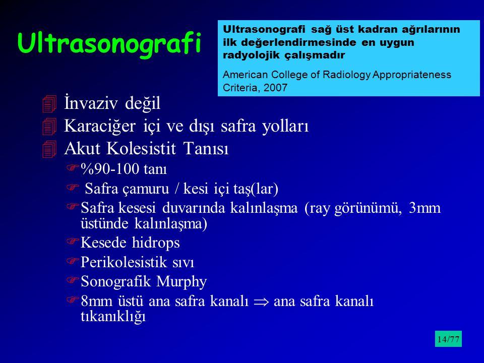 Ultrasonografi 4 İnvaziv değil 4 Karaciğer içi ve dışı safra yolları 4 Akut Kolesistit Tanısı F%90-100 tanı F Safra çamuru / kesi içi taş(lar) FSafra