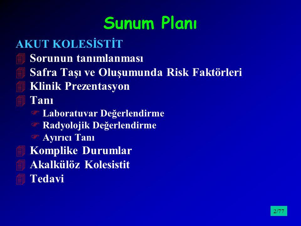 Sunum Planı AKUT KOLESİSTİT 4 Sorunun tanımlanması 4 Safra Taşı ve Oluşumunda Risk Faktörleri 4 Klinik Prezentasyon 4 Tanı F Laboratuvar Değerlendirme