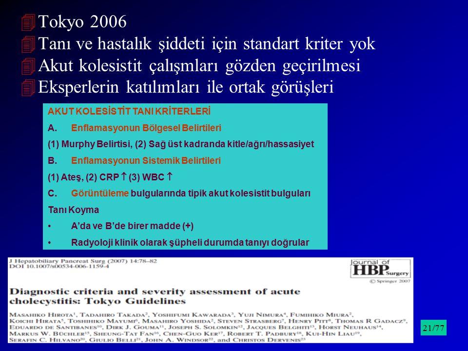 4Tokyo 2006 4Tanı ve hastalık şiddeti için standart kriter yok 4Akut kolesistit çalışmları gözden geçirilmesi 4Eksperlerin katılımları ile ortak görüş