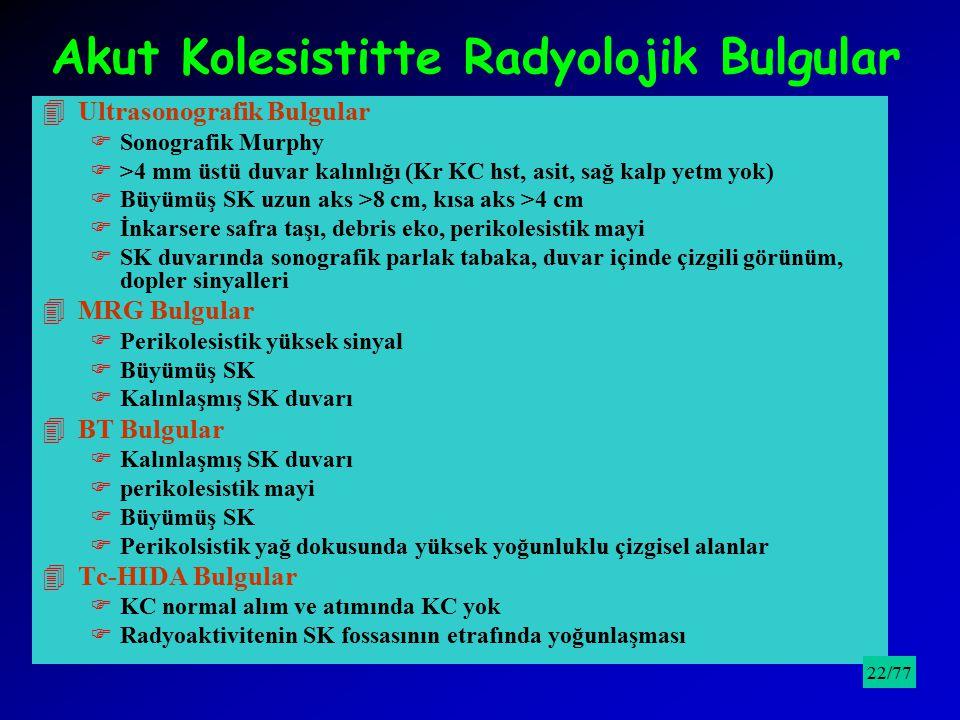 Akut Kolesistitte Radyolojik Bulgular 4Ultrasonografik Bulgular FSonografik Murphy F>4 mm üstü duvar kalınlığı (Kr KC hst, asit, sağ kalp yetm yok) FB