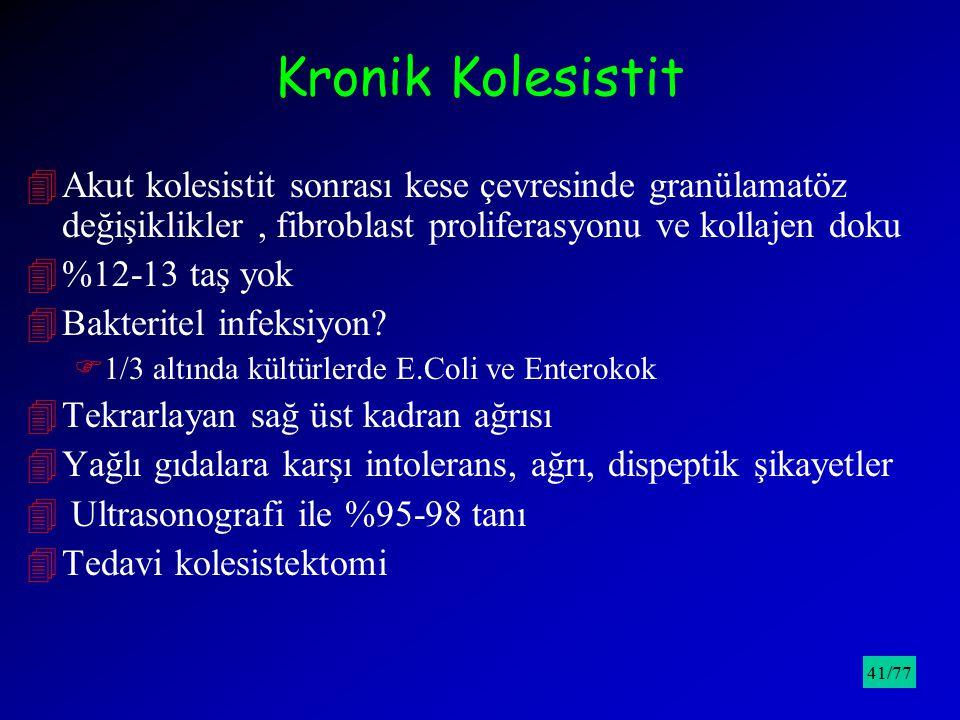 Kronik Kolesistit 4Akut kolesistit sonrası kese çevresinde granülamatöz değişiklikler, fibroblast proliferasyonu ve kollajen doku 4%12-13 taş yok 4Bak