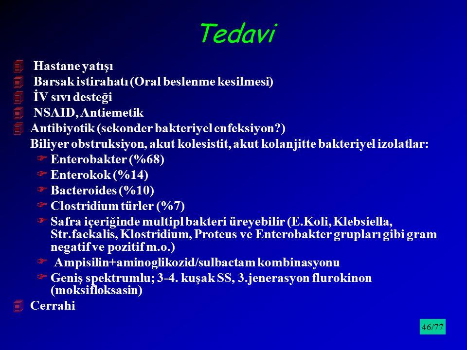 Tedavi 4 Hastane yatışı 4 Barsak istirahatı (Oral beslenme kesilmesi) 4 İV sıvı desteği 4 NSAID, Antiemetik 4Antibiyotik (sekonder bakteriyel enfeksiy