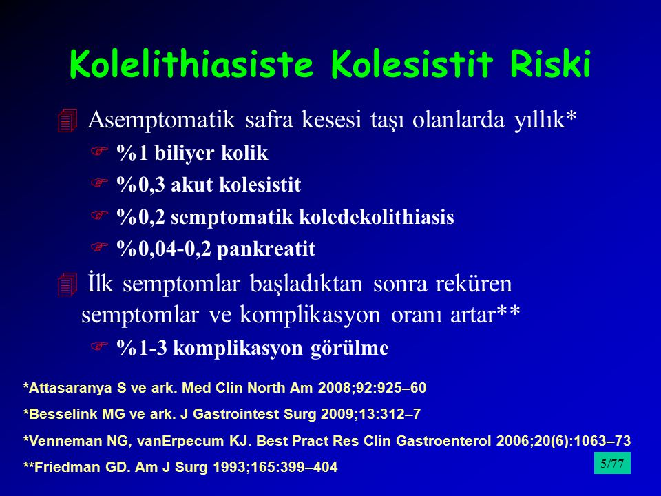 41991 Ocak– 2000 Aralık tarihleri arasında A.Kolesistit tanılı 336 hasta 4Safra kesesi duvar kalınlığı olguların 58'inde 5 mm'den kalın FMultipl taş FHidropik kese FYüksek komplikasyon oranı 4Olguların % 7,7'sinde perikolesistik sıvı F12 saat üzerinde ağrıyla gelen hastalarda anlamlı olarak daha fazla FArtmış lökosit 4Safra kesesi distansiyonu %27.7 4% 9,2'sinde sonografik Murphy bulgusu 4 USG'deki patolojik bulgular ile lokalize ribaund, defans, yaygın ribaund arasında anlamlı ilişki 4Kapsamlı ve prospektif araştırmalar gerekli /9576/77