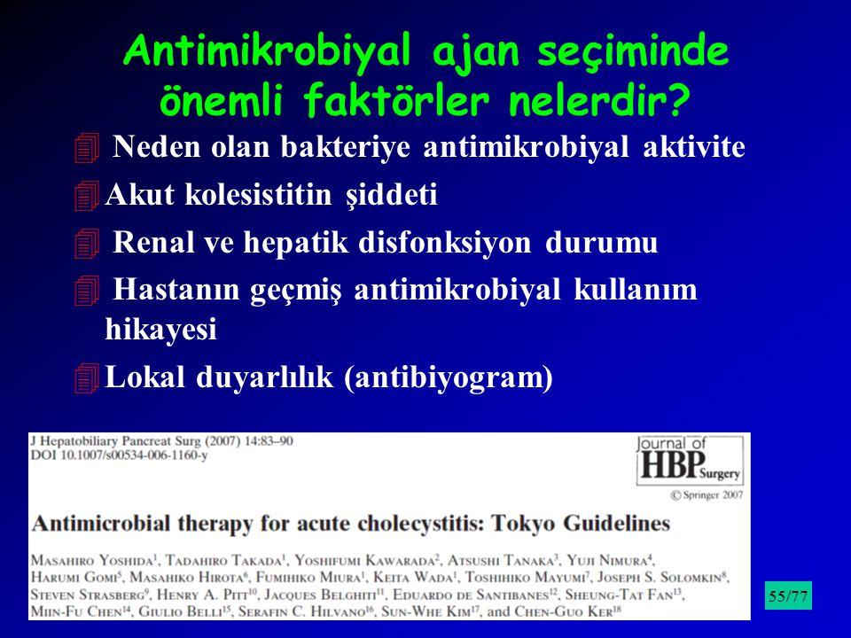 Antimikrobiyal ajan seçiminde önemli faktörler nelerdir? 4 Neden olan bakteriye antimikrobiyal aktivite 4Akut kolesistitin şiddeti 4 Renal ve hepatik
