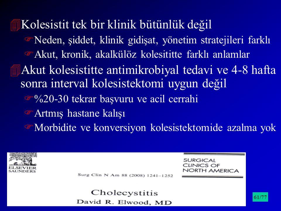 4Kolesistit tek bir klinik bütünlük değil FNeden, şiddet, klinik gidişat, yönetim stratejileri farklı FAkut, kronik, akalkülöz kolesititte farklı anla