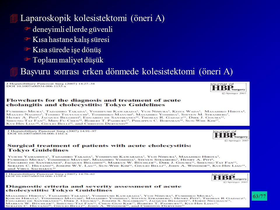 4Laparoskopik kolesistektomi (öneri A) Fdeneyimli ellerde güvenli FKısa hastane kalış süresi FKısa sürede işe dönüş FToplam maliyet düşük 4Başvuru son