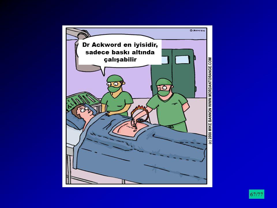 Dr Ackword en iyisidir, sadece baskı altında çalışabilir /9567/77