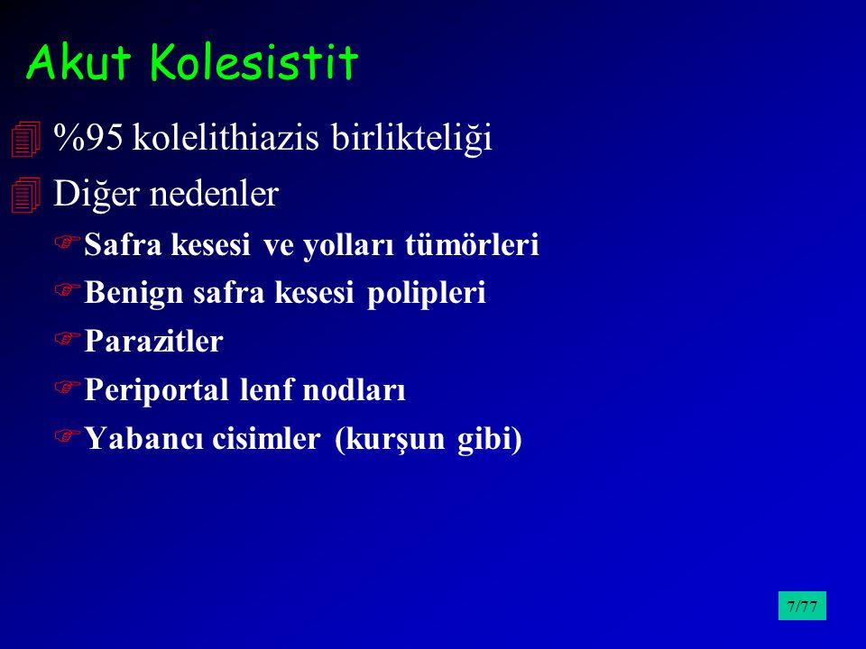 Akut Kolesistit 4 %95 kolelithiazis birlikteliği 4 Diğer nedenler FSafra kesesi ve yolları tümörleri FBenign safra kesesi polipleri FParazitler FPerip
