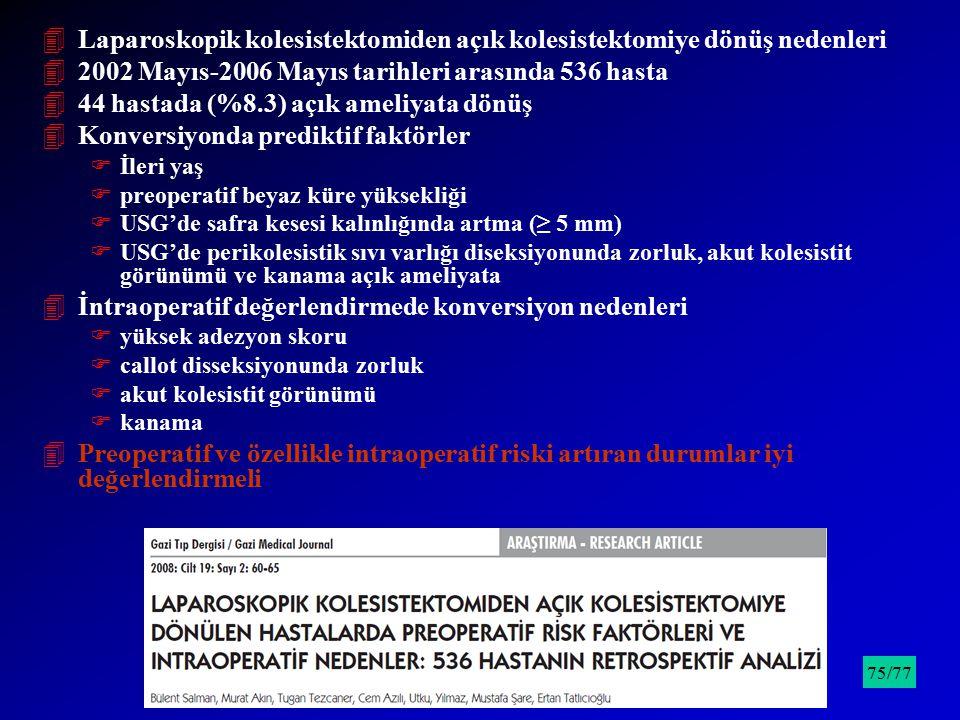 4Laparoskopik kolesistektomiden açık kolesistektomiye dönüş nedenleri 42002 Mayıs-2006 Mayıs tarihleri arasında 536 hasta 444 hastada (%8.3) açık amel