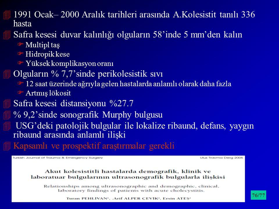 41991 Ocak– 2000 Aralık tarihleri arasında A.Kolesistit tanılı 336 hasta 4Safra kesesi duvar kalınlığı olguların 58'inde 5 mm'den kalın FMultipl taş F