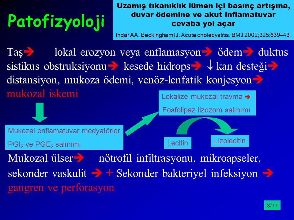Akut Kolanjit 4Obstrükte safra kanalı  enfeksiyon 4Charcot triadı; titremeyle yükselen ateş, sağ üst kadran ağrısı, sarılık (+ hipotansiyon/şok, mental konfüzyon; Reynould pentatı) 4Lökosit, Total-direkt bilirübin, Alkalen fosfataz, AST ve ALT, Serum amilazı 4Ultrasonografi; Fsafra kanallarında genişleme 4PTK ve ERCP Fsafra kanalındaki obstrüksiyonun yeri ve nedeni Ftedavi /9539/77