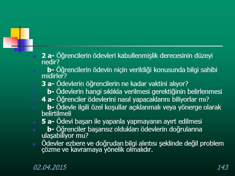 02.04.2015143 2 a- Öğrencilerin ödevleri kabullenmişlik derecesinin düzeyi nedir? b- Öğrencilerin ödevin niçin verildiği konusunda bilgi sahibi midirl