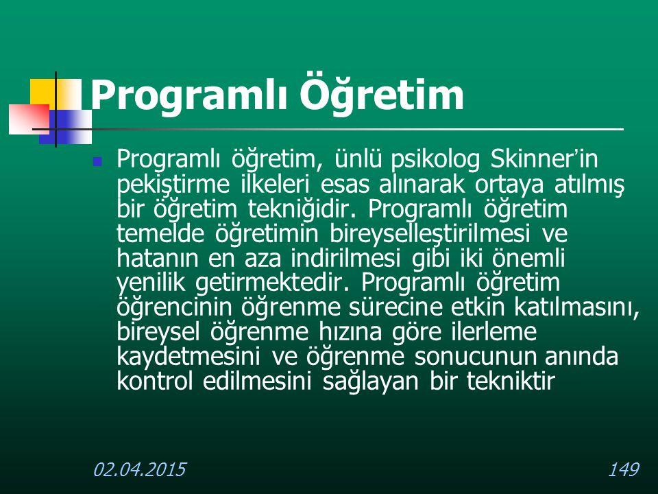 02.04.2015149 Programlı Öğretim Programlı öğretim, ünlü psikolog Skinner ' in pekiştirme ilkeleri esas alınarak ortaya atılmış bir öğretim tekniğidir.