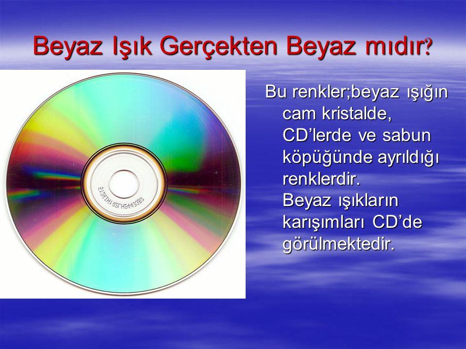 Bu renkler;beyaz ışığın cam kristalde, CD'lerde ve sabun köpüğünde ayrıldığı renklerdir. Beyaz ışıkların karışımları CD'de görülmektedir.