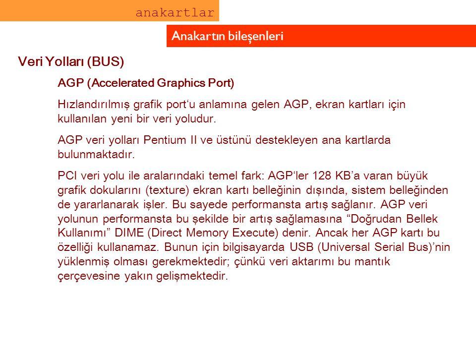 anakartlar Anakartın bileşenleri Veri Yolları (BUS) AGP (Accelerated Graphics Port) Hızlandırılmış grafik port'u anlamına gelen AGP, ekran kartları iç