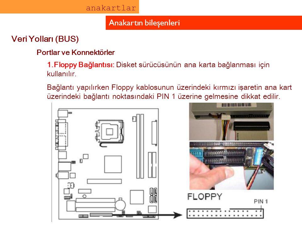 anakartlar Anakartın bileşenleri Veri Yolları (BUS) Portlar ve Konnektörler 1.Floppy Bağlantısı: Disket sürücüsünün ana karta bağlanması için kullanıl