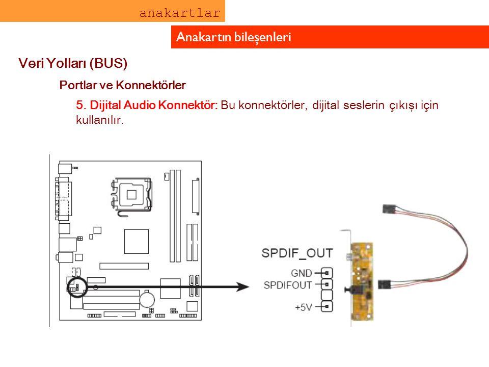 anakartlar Anakartın bileşenleri Veri Yolları (BUS) Portlar ve Konnektörler 5. Dijital Audio Konnektör: Bu konnektörler, dijital seslerin çıkışı için