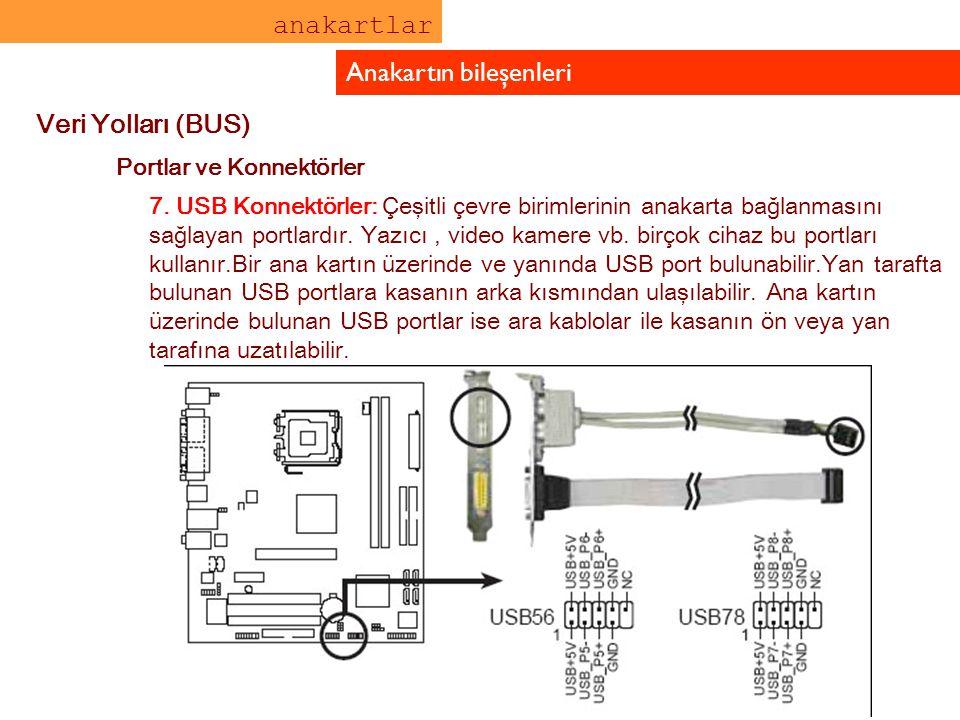 anakartlar Anakartın bileşenleri Veri Yolları (BUS) Portlar ve Konnektörler 7. USB Konnektörler: Çeşitli çevre birimlerinin anakarta bağlanmasını sağl
