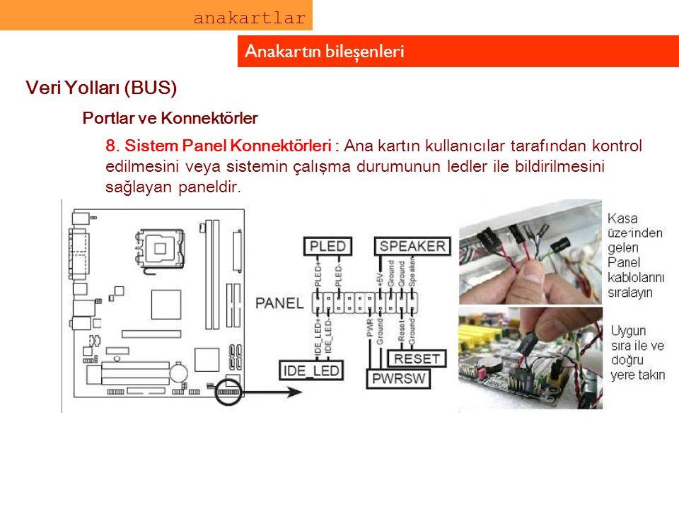 anakartlar Anakartın bileşenleri Veri Yolları (BUS) Portlar ve Konnektörler 8. Sistem Panel Konnektörleri : Ana kartın kullanıcılar tarafından kontrol