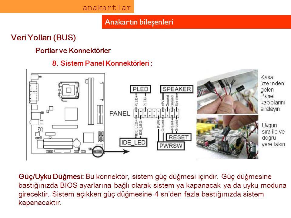 anakartlar Anakartın bileşenleri Veri Yolları (BUS) Portlar ve Konnektörler Yeniden Başlat Düğmesi (Mavi 2-pin RESET): Sistemi kapatmadan yeniden başl