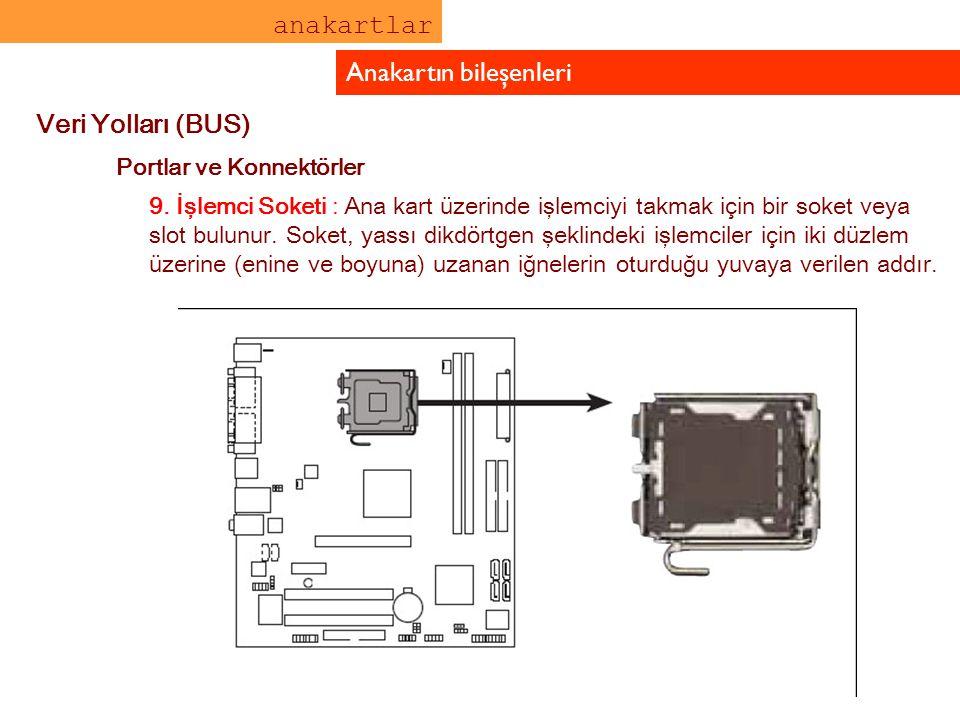 anakartlar Anakartın bileşenleri Veri Yolları (BUS) Portlar ve Konnektörler 9. İşlemci Soketi : Ana kart üzerinde işlemciyi takmak için bir soket veya
