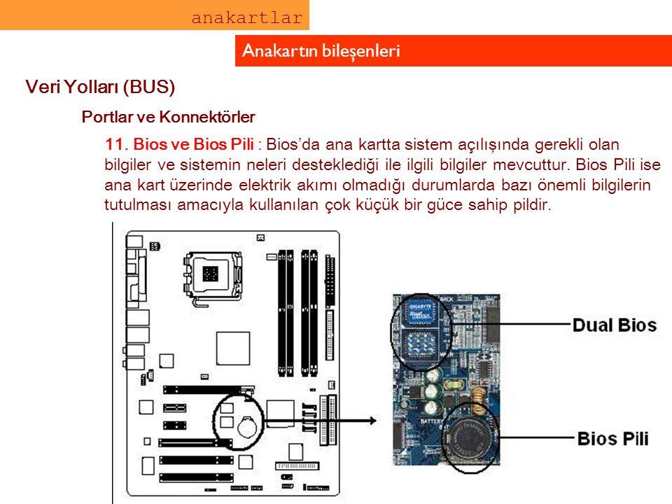 anakartlar Anakartın bileşenleri Veri Yolları (BUS) Portlar ve Konnektörler 11. Bios ve Bios Pili : Bios'da ana kartta sistem açılışında gerekli olan