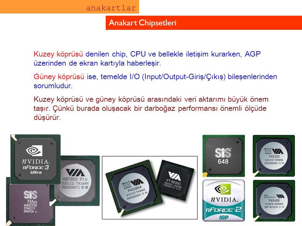 anakartlar Anakart Chipsetleri Kuzey köprüsü denilen chip, CPU ve bellekle iletişim kurarken, AGP üzerinden de ekran kartıyla haberleşir. Güney köprüs