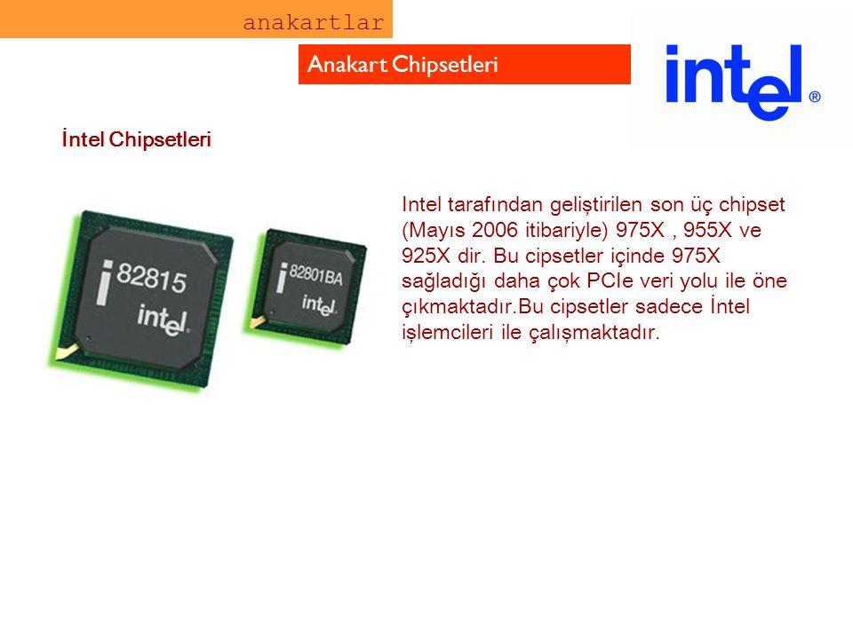 anakartlar Anakart Chipsetleri Intel tarafından geliştirilen son üç chipset (Mayıs 2006 itibariyle) 975X, 955X ve 925X dir. Bu cipsetler içinde 975X s