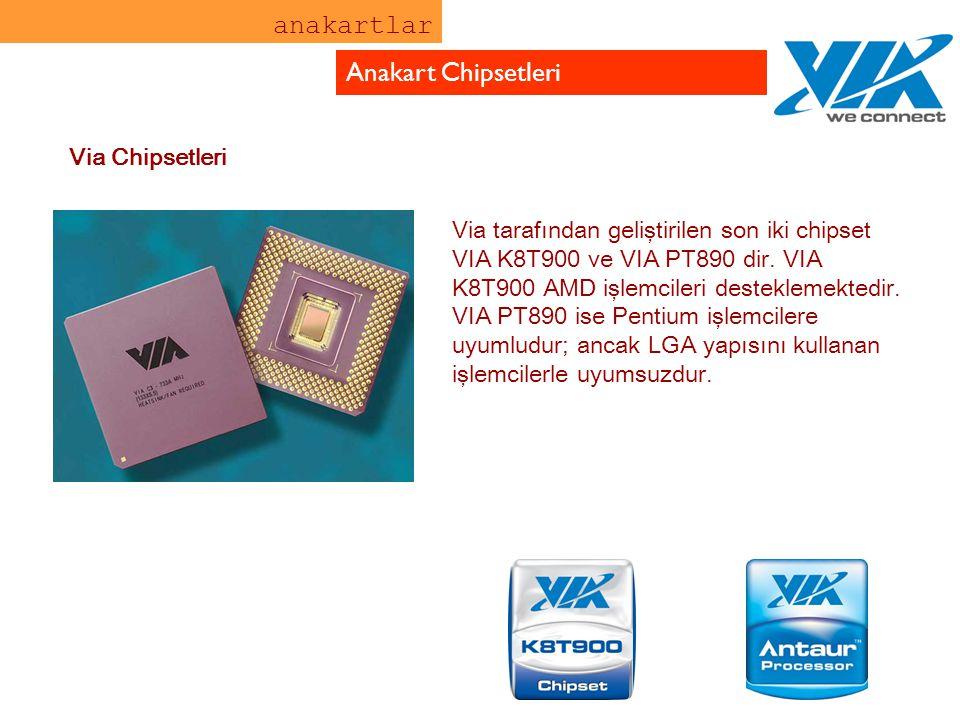 anakartlar Anakart Chipsetleri Via tarafından geliştirilen son iki chipset VIA K8T900 ve VIA PT890 dir. VIA K8T900 AMD işlemcileri desteklemektedir. V