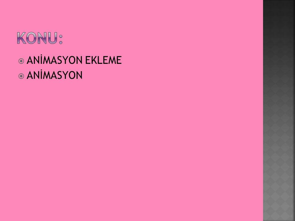  ANİMASYON EKLEME  ANİMASYON