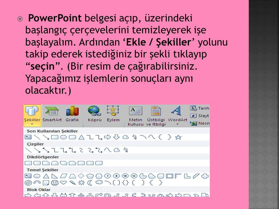  PowerPoint belgesi açıp, üzerindeki başlangıç çerçevelerini temizleyerek işe başlayalım. Ardından 'Ekle / Şekiller' yolunu takip ederek istediğiniz