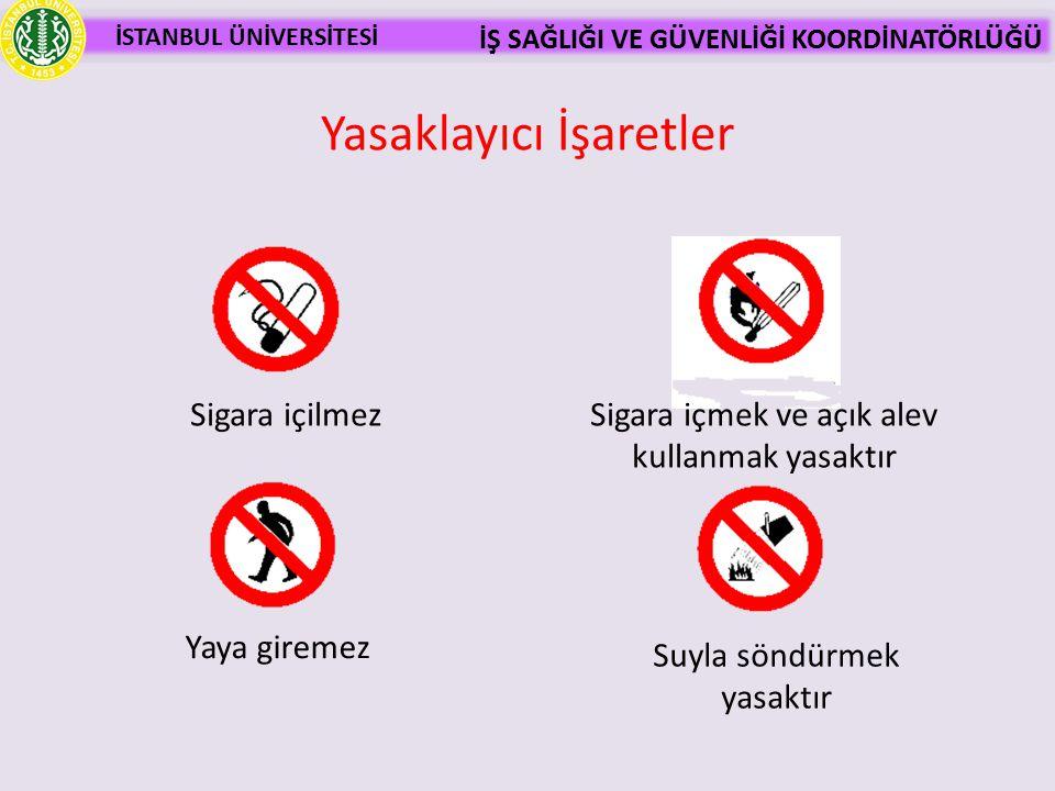 İSTANBUL ÜNİVERSİTESİ İŞ SAĞLIĞI VE GÜVENLİĞİ KOORDİNATÖRLÜĞÜ Yasaklayıcı İşaretler Sigara içilmez Yaya giremez Suyla söndürmek yasaktır Sigara içmek