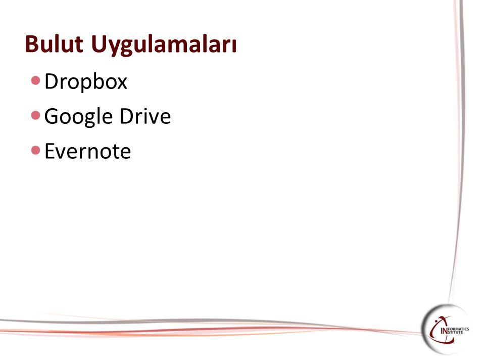 Bulut Uygulamaları Dropbox Google Drive Evernote
