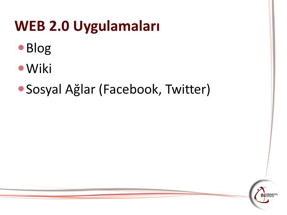 WEB 2.0 Uygulamaları Blog Wiki Sosyal Ağlar (Facebook, Twitter)