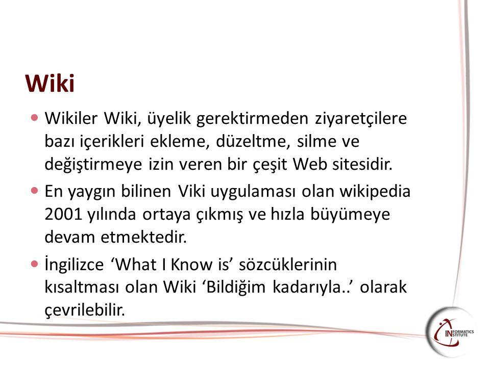 Wiki Wikiler Wiki, üyelik gerektirmeden ziyaretçilere bazı içerikleri ekleme, düzeltme, silme ve değiştirmeye izin veren bir çeşit Web sitesidir. En y