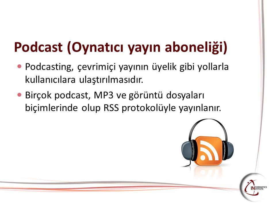 Podcast (Oynatıcı yayın aboneliği) Podcasting, çevrimiçi yayının üyelik gibi yollarla kullanıcılara ulaştırılmasıdır. Birçok podcast, MP3 ve görüntü d
