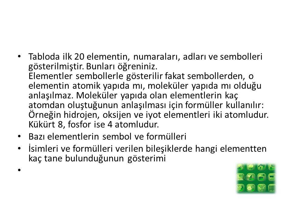 Tabloda ilk 20 elementin, numaraları, adları ve sembolleri gösterilmiştir. Bunları öğreniniz. Elementler sembollerle gösterilir fakat sembollerden, o